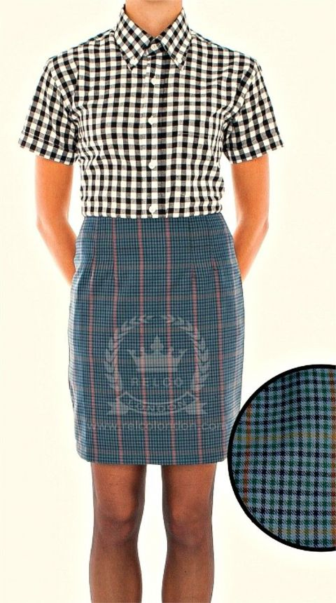 RELCO BLUE TWEED SKIRT - J0000002004A